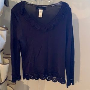 Long sleeve top with lace at the bottom